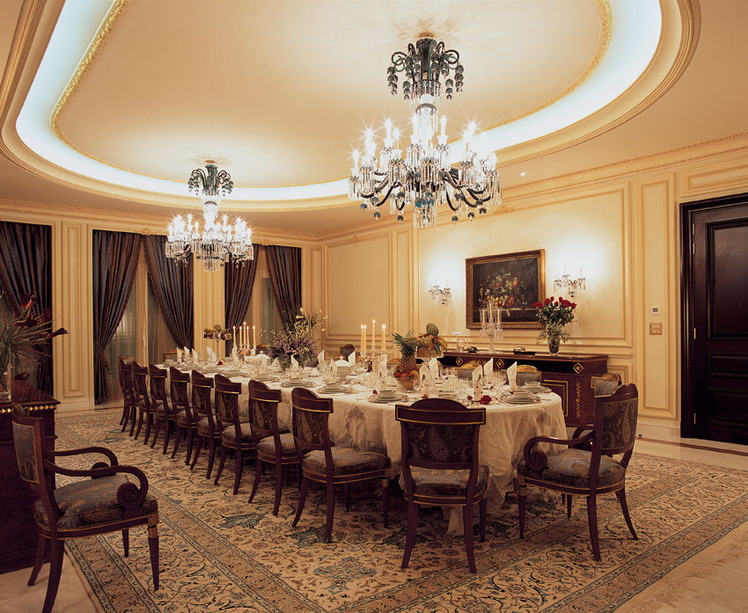 2013 luxury POP ceiling designs for dinning room with shining accessories